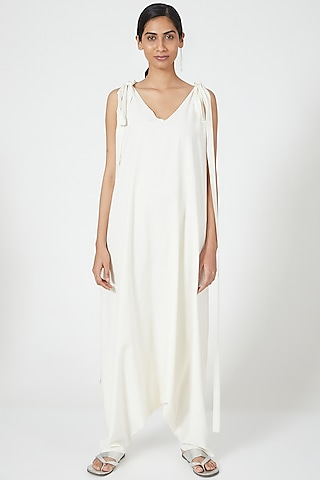 Ivory Cowl Draped Jumpsuit by Wendell Rodricks