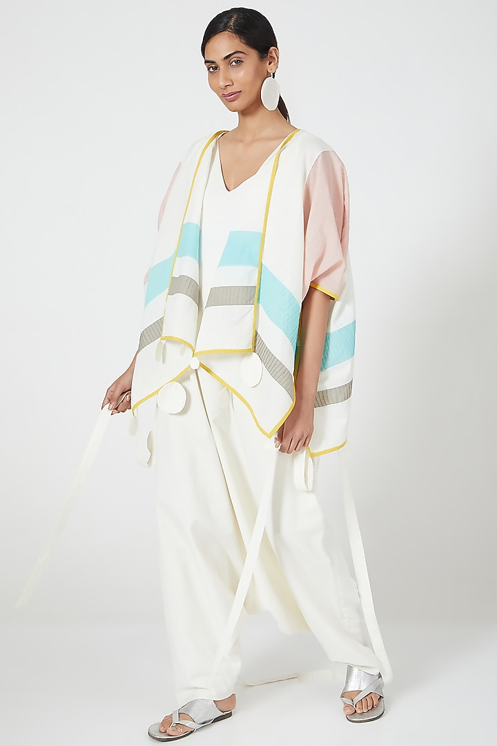 Multi Coloured Cape With Colour Blocking by Wendell Rodricks