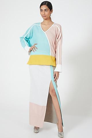Multi Coloured Straight Cut Skirt by Wendell Rodricks