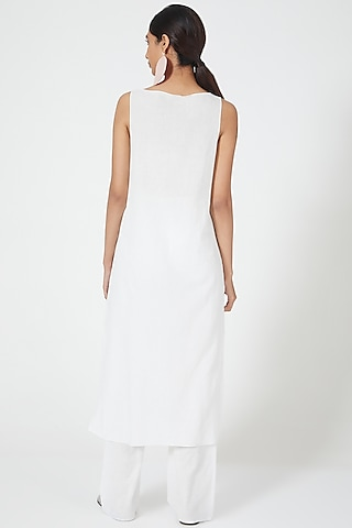 White Straight Cut Cami Dress by Wendell Rodricks