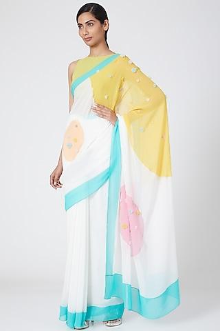 Yellow Silk Georgette Blouse by Wendell Rodricks