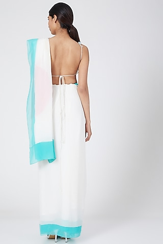 Off White Floral Embroidered Halter Blouse by Wendell Rodricks