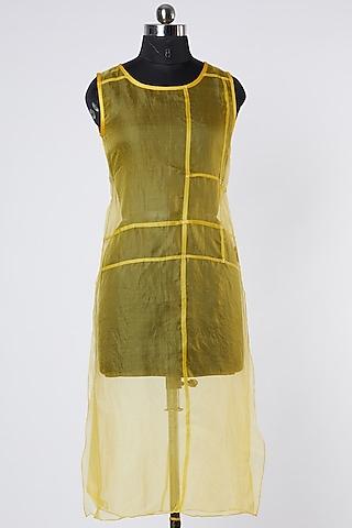 Yellow Silk Organza Top by Wendell Rodricks