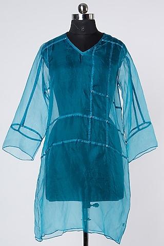 Blue Silk Organza Top by Wendell Rodricks