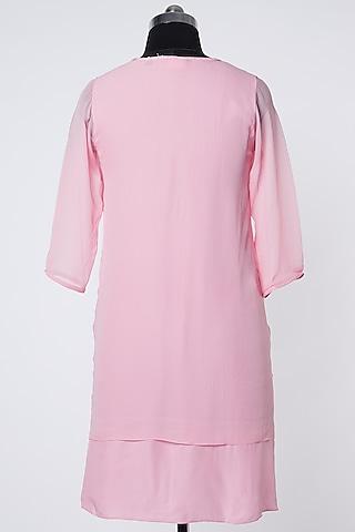 Pink Silk Crepe Top by Wendell Rodricks