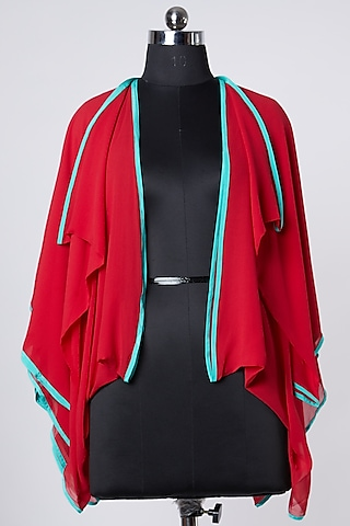 Red Color Blocked Jacket by Wendell Rodricks