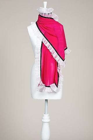 Fuchsia Crinkled Stole by Wendell Rodricks