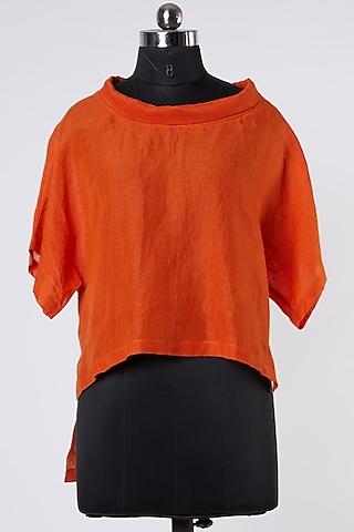 Orange Linen Top by Wendell Rodricks