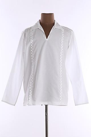 White Cotton Tunic Shirt by Wendell Rodricks Men