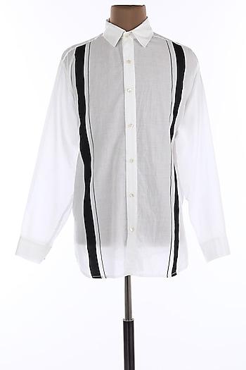 White Cotton Printed Collar Shirt by Wendell Rodricks Men