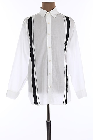 White Cotton Printed Collar Shirt by Wendell Rodricks Men