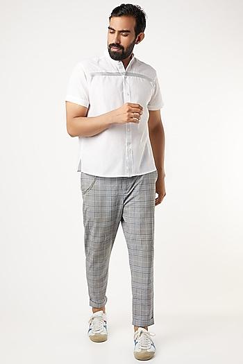 White Mandarin Collar Shirt With Silver Piping by Wendell Rodricks Men