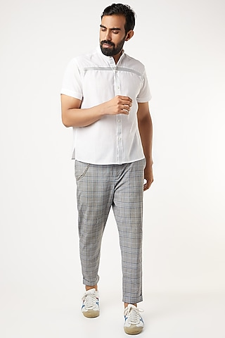 White Mandarin Collar Shirt With Silver Piping by Wendell Rodricks Men