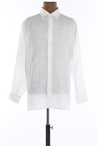 White Collar Buttoned Shirt by Wendell Rodricks Men