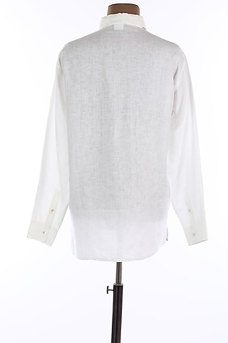 White Collar Buttoned Shirt by Wendell Rodricks Men
