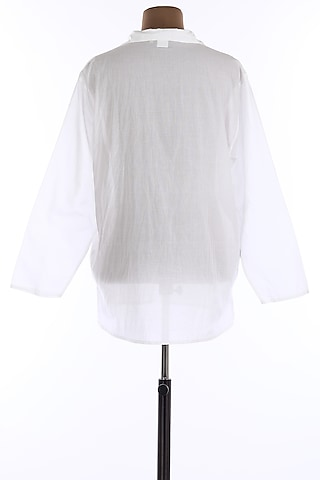 White Collar Tunic Shirt by Wendell Rodricks Men