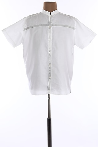 White Mandarin Collar Cotton Shirt by Wendell Rodricks Men