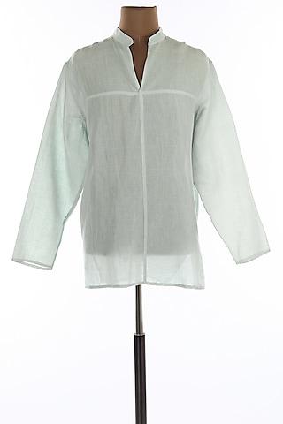 Light Blue Mandarin Collar Linen Shirt by Wendell Rodricks Men