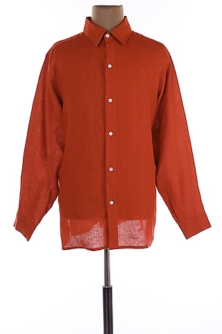 Burnt Orange Collar Shirt by Wendell Rodricks Men