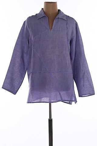 Purple Collar Tunic Shirt by Wendell Rodricks Men
