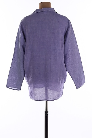 Purple Collar Tunic Shirt by Wendell Rodricks Men