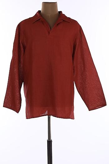 Brick Red Collar Tunic Shirt by Wendell Rodricks Men