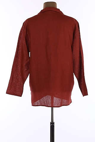 Brick Red Collar Tunic Shirt by Wendell Rodricks Men