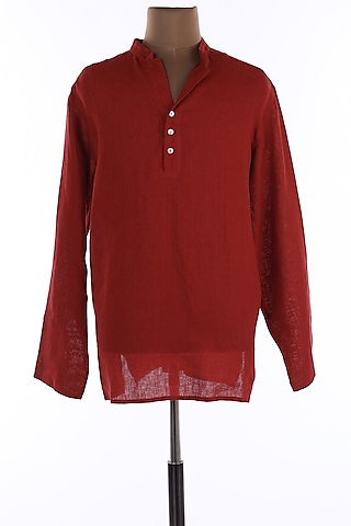 Red Mandarin Collar Tunic Shirt by Wendell Rodricks Men