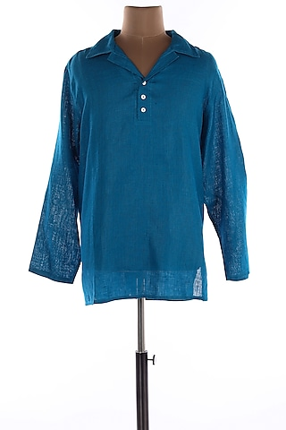 Blue Collar Linen Shirt by Wendell Rodricks Men
