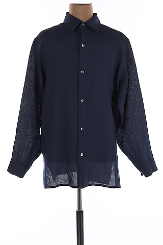 Navy Blue Collar Linen Shirt by Wendell Rodricks Men