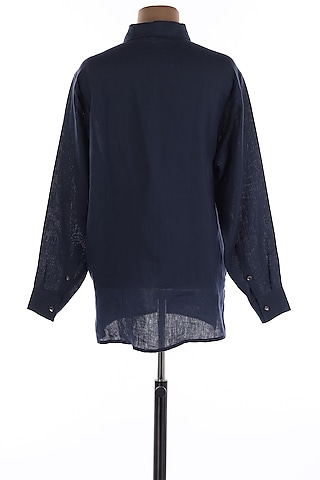 Navy Blue Collar Linen Shirt by Wendell Rodricks Men