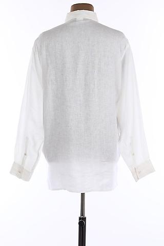 White Collar Linen Shirt by Wendell Rodricks Men