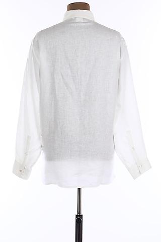 White Collar Buttoned Linen Shirt by Wendell Rodricks Men