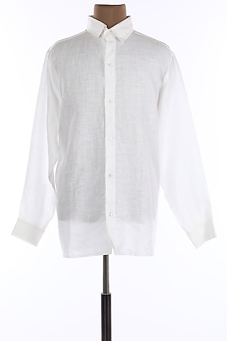 White Open Collar Shirt by Wendell Rodricks Men
