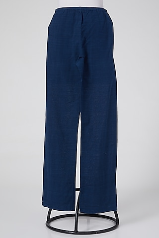 Cobalt Blue Pants In Linen by Wendell Rodricks