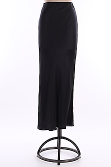 Black Satin Dress by Wendell Rodricks-POPULAR PRODUCTS AT STORE