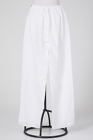 White Cotton Pants by Wendell Rodricks