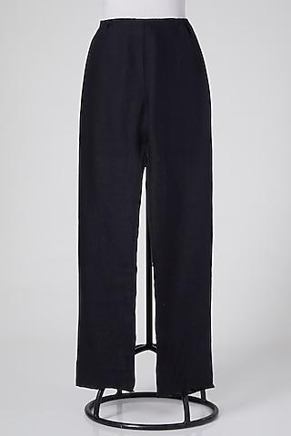 Black Pants In Linen by Wendell Rodricks