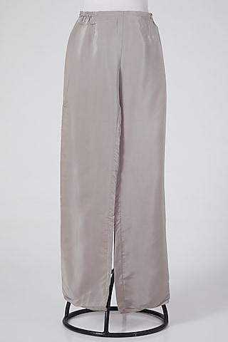 Grey Pants In Linen by Wendell Rodricks
