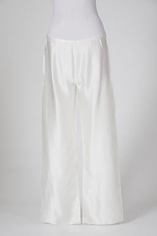White Satin Pants by Wendell Rodricks