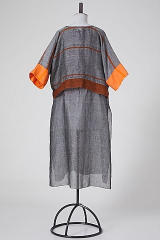 Grey Linen Tunic by Wendell Rodricks