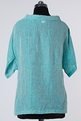 Blue Linen Top by Wendell Rodricks