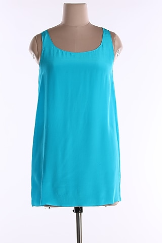 Turquoise Satin Cami Top by Wendell Rodricks