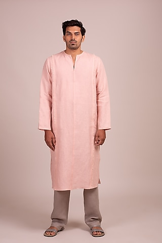 Pink Linen Kurta With Fringe by Wendell Rodricks Men