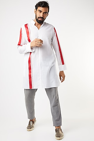 White Tunic-Style Shirt With Red Stripes by Wendell Rodricks Men