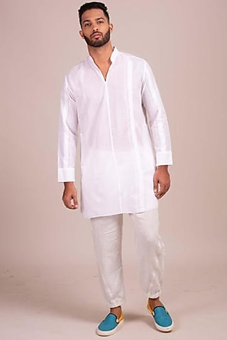 White Striped Tunic-Style Shirt by Wendell Rodricks Men
