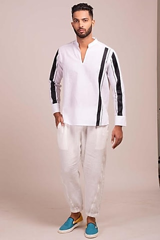 White Tunic-Style Shirt With Black Stripes by Wendell Rodricks Men