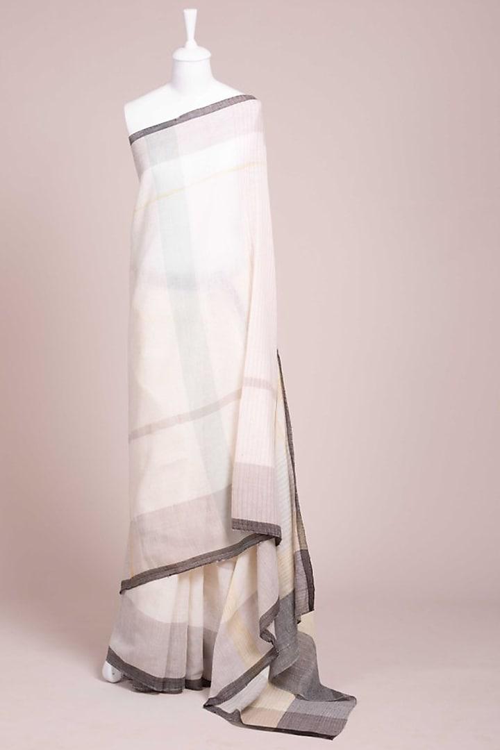 Ivory Cotton Kunbi Saree by Wendell Rodricks