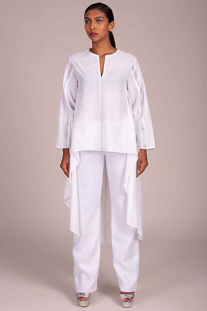White Tunic With Grey Piping by Wendell Rodricks