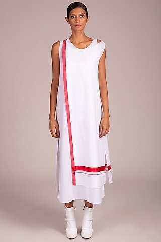 White Double Layered Dress by Wendell Rodricks